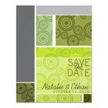 Reserva retra del verde de los bloques de los invitación 10,8 x 13,9 cm