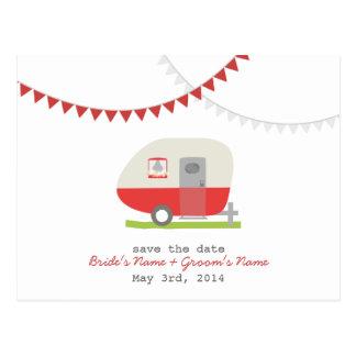 Reserva retra roja del boda del remolque la postal