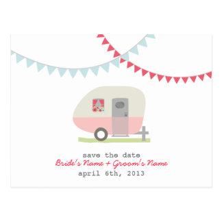 Reserva retra rosada del boda del remolque la postal