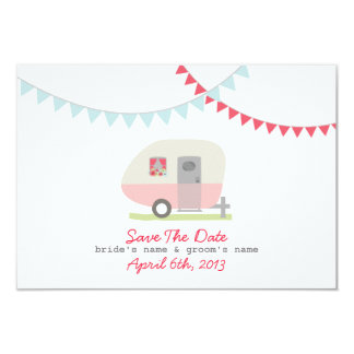 Reserva retra rosada del remolque y del boda la invitación personalizada