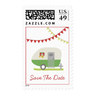Reserva retra verde del boda del remolque la fecha sello