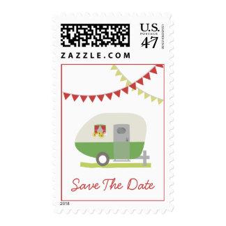 Reserva retra verde del boda del remolque la fecha timbres postales