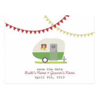 Reserva retra verde del boda del remolque la tarjetas postales