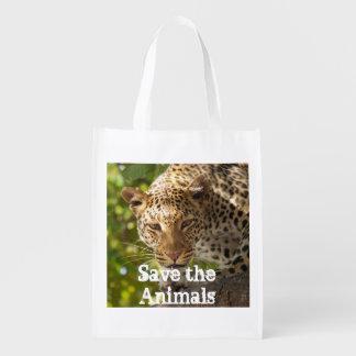 Reserva reutilizable del bolso los animales bolsas para la compra