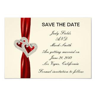 """Reserva roja de la cinta de los corazones de invitación 3.5"""" x 5"""""""