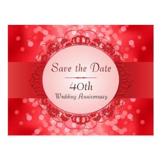 Reserva roja de rubíes de Bokeh el aniversario de  Tarjetas Postales