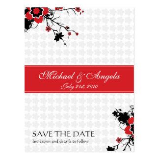 Reserva roja de Sakura de la flor de cerezo la Tarjeta Postal