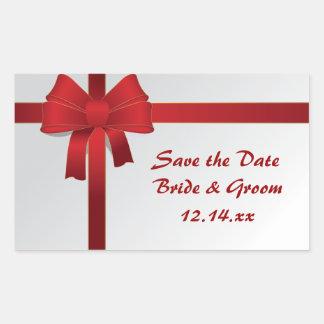Reserva roja del boda del invierno de los arcos la pegatina rectangular