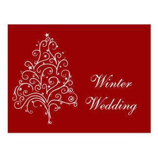 Reserva roja del boda del invierno del árbol de postal