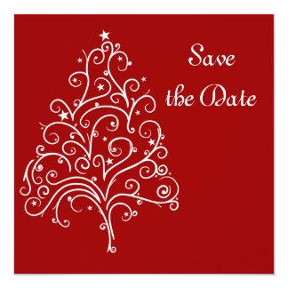 Reserva roja del boda del invierno la invitación