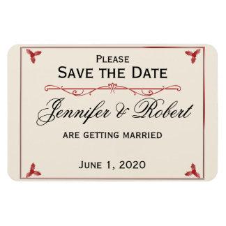 Reserva roja del boda del muérdago del blanco puro imanes rectangulares