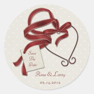 Reserva roja del corazón de la cinta el pegatina