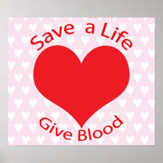Reserva roja del corazón un poster de la donación