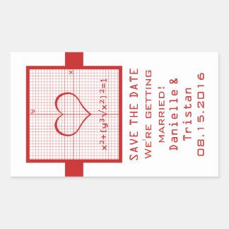 Reserva roja del gráfico de la matemáticas del pegatina rectangular