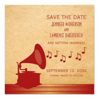 Reserva roja del gramófono del vintage que la invitación 13,3 cm x 13,3cm