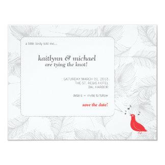 """Reserva roja del pájaro cantante la tarjeta de invitación 4.25"""" x 5.5"""""""