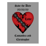 Reserva roja medieval gótica romántica del corazón postales