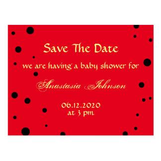 Reserva roja negra linda de la mariquita la fiesta tarjeta postal