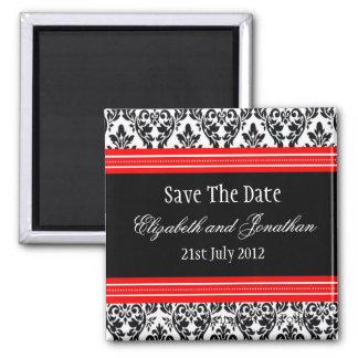 Reserva roja y negra del boda del damasco la fecha imán cuadrado