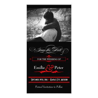 Reserva roja y negra del estilo del poster la fech tarjetas personales