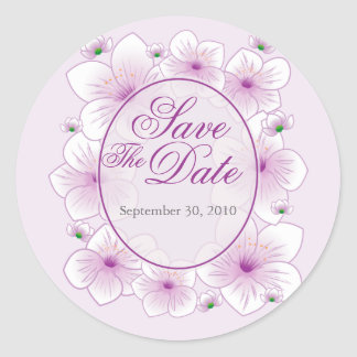 Reserva romántica del boda del flor de la lavanda pegatina redonda