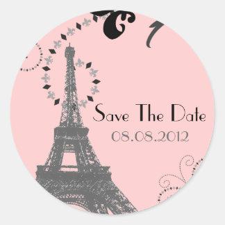 Reserva romántica del boda del vintage de París la Pegatina Redonda
