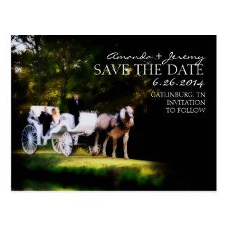 Reserva romántica del carro del caballo la fecha postal