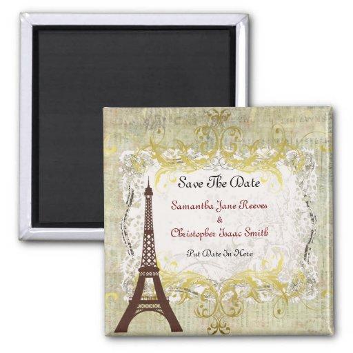 Reserva romántica del vintage de París la fecha Imán Cuadrado