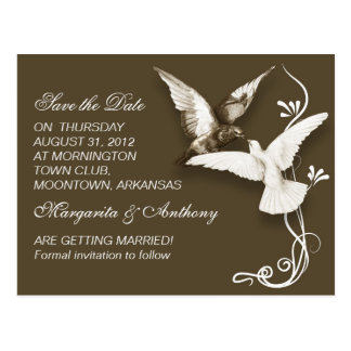 reserva romántica elegante de dos pájaros las postales