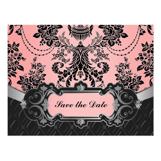 Reserva rosa clara y negra del boda del damasco postales