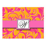 Reserva rosada anaranjada del boda del damasco del postal
