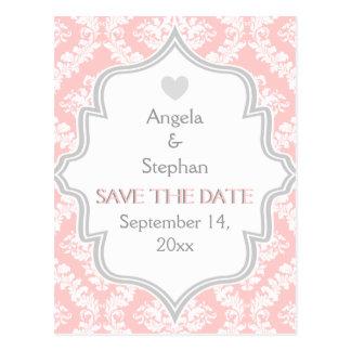 Reserva rosada, blanca, gris del boda del damasco  tarjetas postales