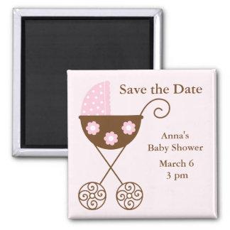 Reserva rosada de la fiesta de bienvenida al bebé  imán cuadrado