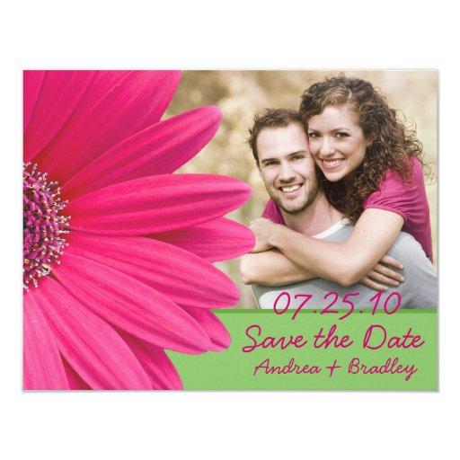 """Reserva rosada de la foto del verde del Gerbera la Invitación 4.25"""" X 5.5"""""""