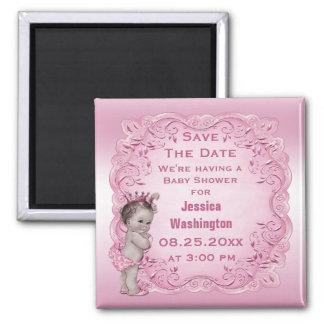 Reserva rosada de la princesa fiesta de bienvenida iman