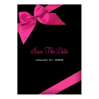 Reserva rosada del boda de la cinta la fecha tarjetas de visita grandes