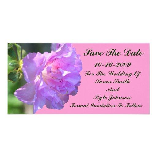 Reserva rosada del boda de la flor de la azalea la tarjetas fotográficas personalizadas