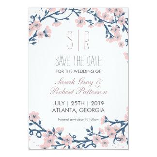 """Reserva rosada del boda de la flor de la flor de invitación 3.5"""" x 5"""""""