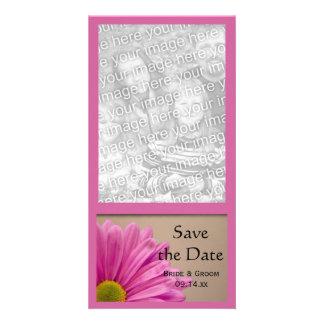 Reserva rosada del boda de la flor la tarjeta de l tarjeta fotográfica personalizada