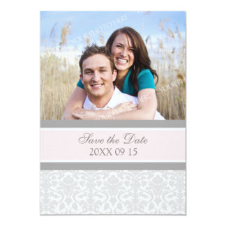 Reserva rosada del boda de la foto del damasco la invitación 12,7 x 17,8 cm