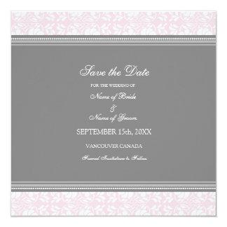 Reserva rosada del boda de la foto del damasco la invitación 13,3 cm x 13,3cm