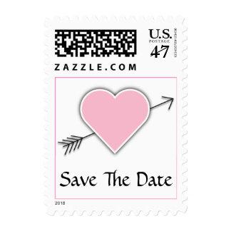 Reserva rosada del boda del corazón la fecha timbres postales