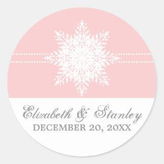 Reserva rosada del boda del invierno del copo de pegatinas redondas
