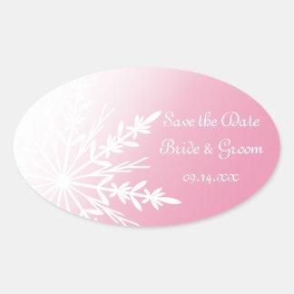 Reserva rosada del boda del invierno del copo de calcomania óval personalizadas