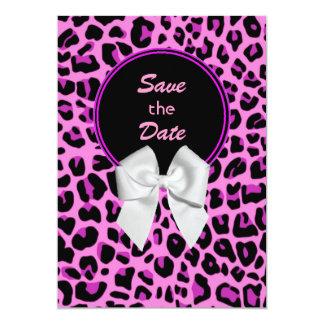 Reserva rosada del boda del leopardo la invitación invitación 12,7 x 17,8 cm