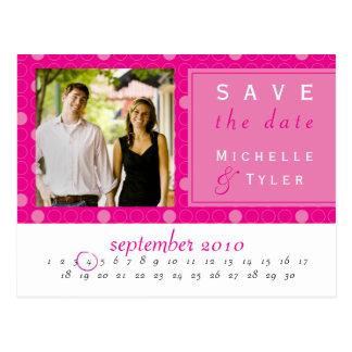 Reserva rosada del círculo la tarjeta de fecha tarjeta postal