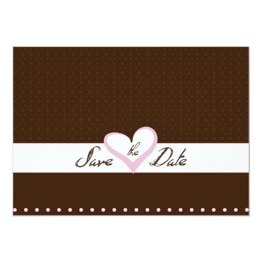 Reserva rosada del corazón la fecha invitación 12,7 x 17,8 cm