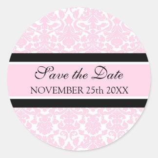 Reserva rosada del damasco el sello del sobre de etiqueta redonda