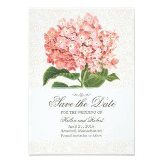 Reserva rosada del Hydrangea del vintage la fecha Invitación 12,7 X 17,8 Cm