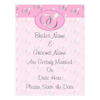 Reserva rosada del modelo de los anillos de bodas  postales